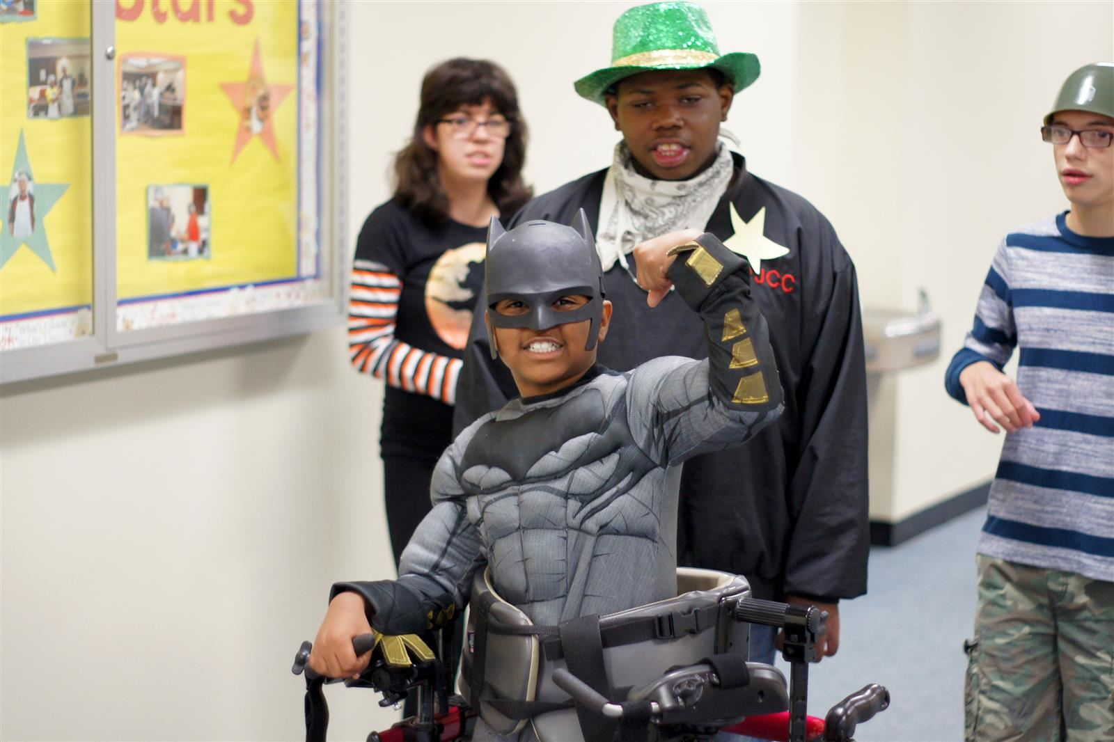 A student strikes a pose during the Halloween parade.