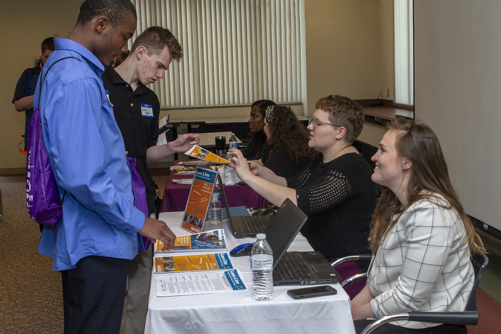 Students learning about employers